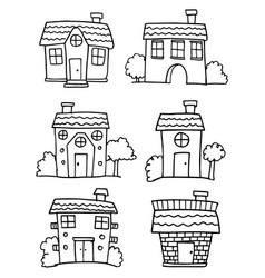 Doodle of house various set vector