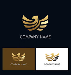 eagle gold emblem logo vector image