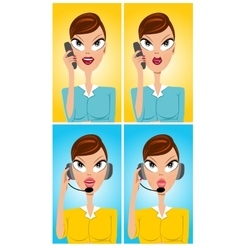facial expressions of cartoon operator vector image vector image
