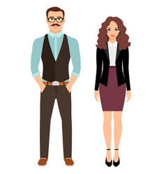 Fashion couple in business clothes vector