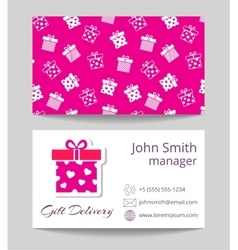 Gift delivery service business card template vector image vector image