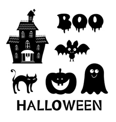 Halloween set with black and white graphic vector