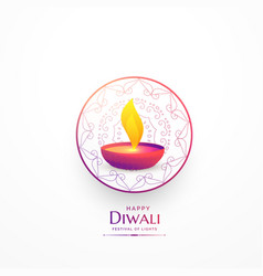 Happy diwali simple greeting with vibrant diya vector
