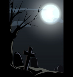 happy halloween graveyard and died tree night back vector image vector image