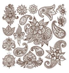 Henna mehndi flower template vector