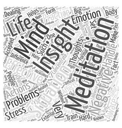Insight meditation word cloud concept vector