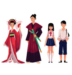Japanese people - geisha and samurai typical vector