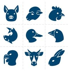 meats icons vector image