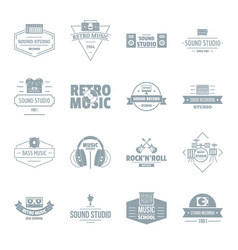 Music studio logo icons set simple style vector