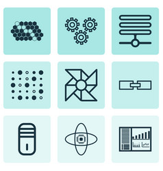 Set of 9 robotics icons includes mainframe hive vector