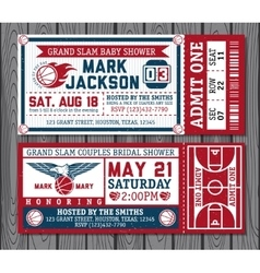 Set of vintage basketball tickets vector