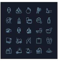 Spa and beauty thin line icons set vector
