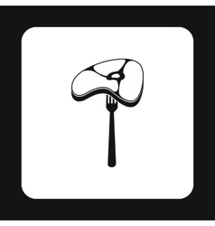 Steak on fork icon simple style vector