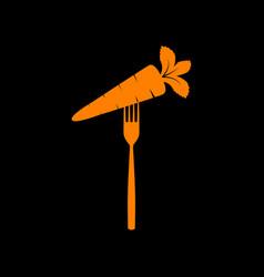 vegetarian food sign orange icon on vector image