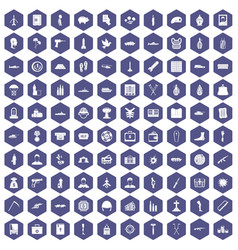 100 war crimes icons hexagon purple vector