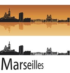 Marseilles skyline in orange background vector