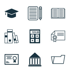 set of 9 education icons includes graduation vector image