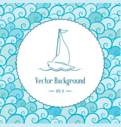 nautical background with emblem and waves vector image