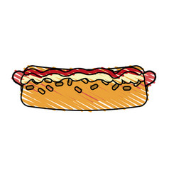 Color crayon stripe cartoon closeup hot dog with vector