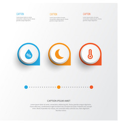 Air icons set collection of moisture temperature vector