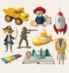 Set of old-fashioned toys vector