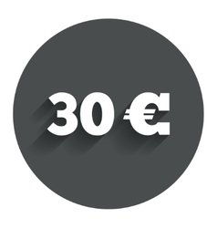 30 euro sign icon eur currency symbol vector