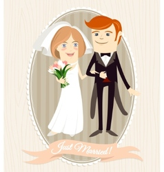 Hipster funny couple just married flat style vector