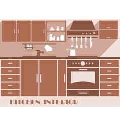 Kitchen interior flat design in brown colors vector image