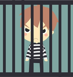 Cute prisoner in the jaill vector