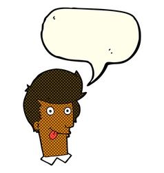 Cartoon man with tongue hanging out with speech vector