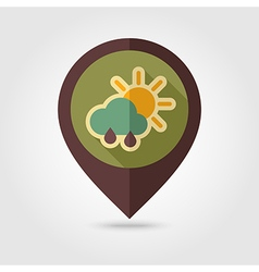 Sun rain cloud retro flat pin map icon weather vector
