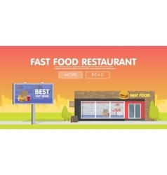 Storefront restaurant selling fast food vector