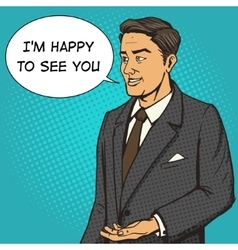 Man in a business suit speaks comic book vector