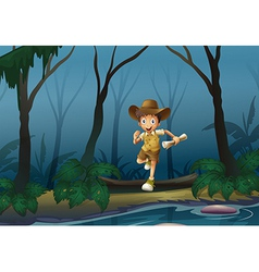 An adventurer in the forest vector image