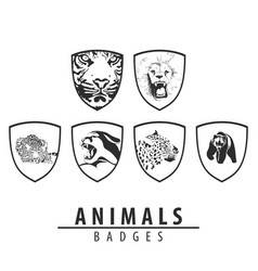 animal emblem on white background vector image vector image