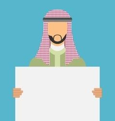 Arab saudi promoter man holding a blank horizontal vector