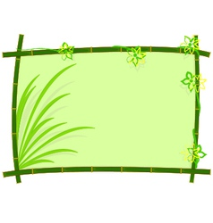 bamboo frame with grass and flower vector image vector image