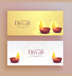 beautiful diwali festival banners with diya lamp vector image