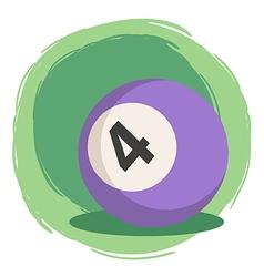 Billiard ball number 4 purple vector