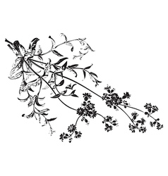 Botanical branches with flowers isolated herbal vector image vector image