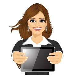 businesswoman displaying tablet vector image