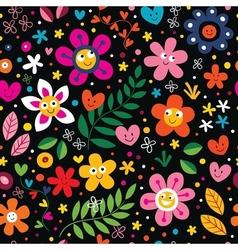 Cartoon flowers pattern vector