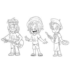 Cartoon hippie with guitar jamaican character set vector