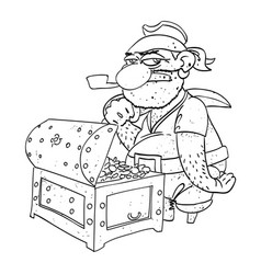 cartoon image of pirate captain with treasure vector image