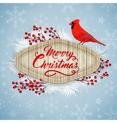 Christmas background with cardinal bird vector image