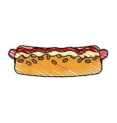 Color crayon stripe cartoon closeup hot dog with vector