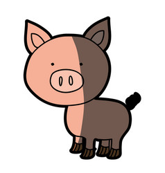 Colorful silhouette of pig with half shadow vector