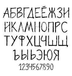 Cyrillic grunge alphabet painted vector