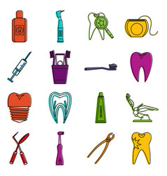 dental care icons doodle set vector image