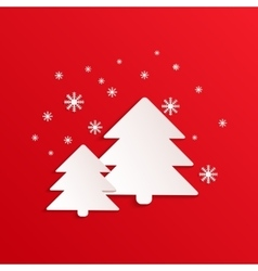 Fir card with paper shapes Winter vector image vector image